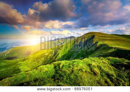Mountain sunset in the Carpathian mountains. Panorama