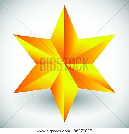 Faceted Star Vector Illustration With Shadow Isolated