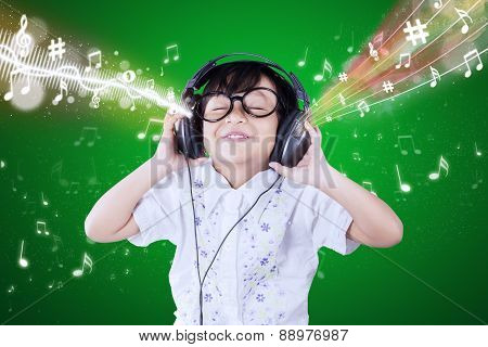 Little Girl Enjoys The Music Melody