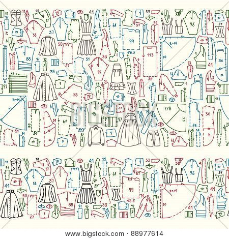 Seamless Hand Drawn Doodle Borders With Clothes And Sewing Patterns.