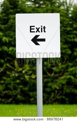 Car park exit directional sign