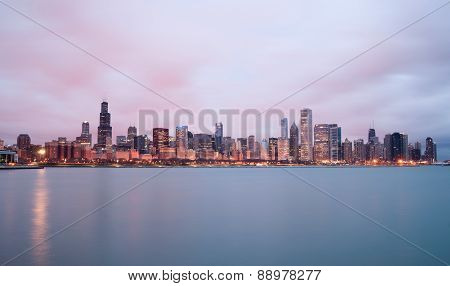 Sunrise Color Sky Lake Michigan Chicago Illinois City Skyline