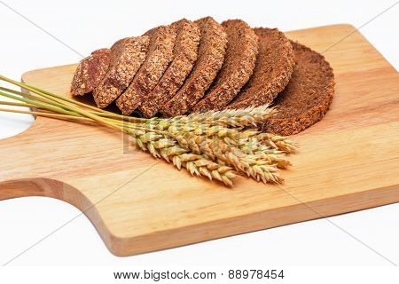 Rye Malt Bread And Wheat Ears