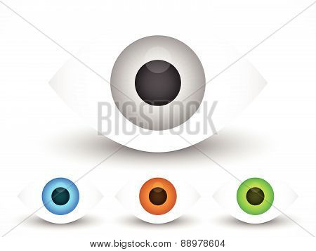Eye, Eyeball Graphics In Different Colors. Gray, Green, Brown And Blue Eyes. Editable Vector.