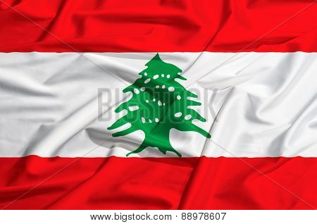 Lebanon Flag On A Silk Drape Waving