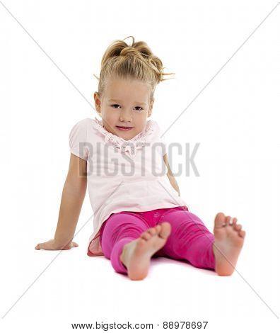 Portrait of beautiful little girl, studio on white background