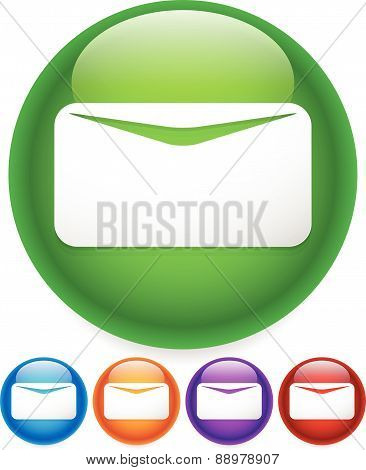 Newsletter, Mail, Email Icon Or Button. White Envelope Symbol On Bright Circles With Glossy Effect.