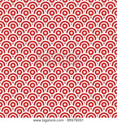 Red And White Concentric Circles Abstract Pattern. Seamlessly Repeatable. Vector Illustration