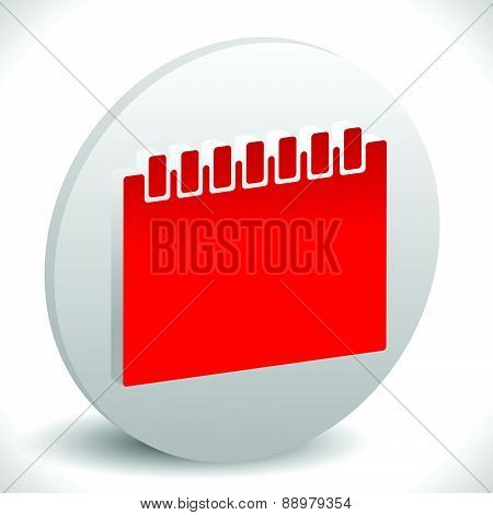 Red Calendar Vector Icon. Illustration For Schedule, Appointment Or Generic Date Related Concepts.