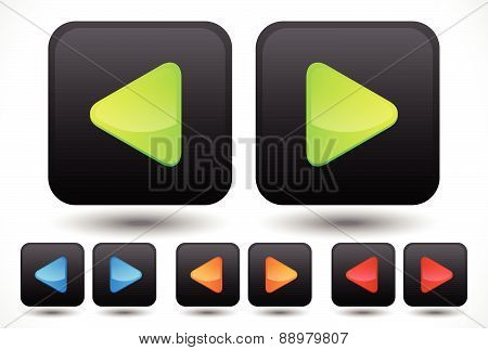 Set Of Rounded Left And Right Arrow Buttons, Arrow Icons. Green, Blue, Orange And Red Colors Include