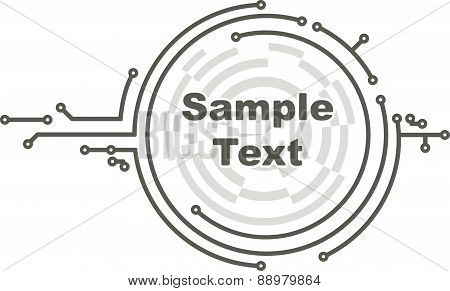 Round frame in PCB-layout style for text or design. Vector illustration.
