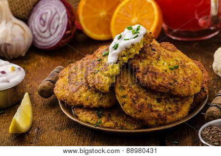 Cauliflower Curry Pancakes