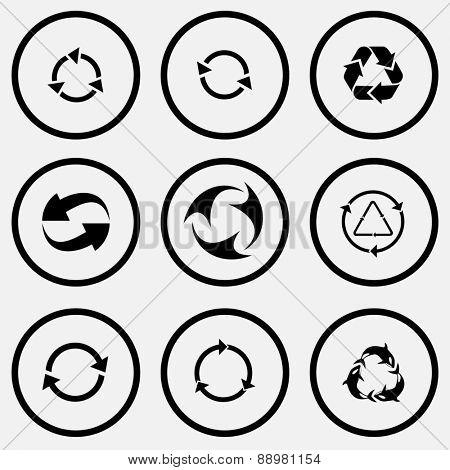 Recycle symbols set. Black and white set raster icons.