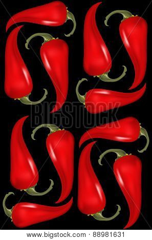 Seamless pattern with red hat chilli pepers. Vector illustration for your design.
