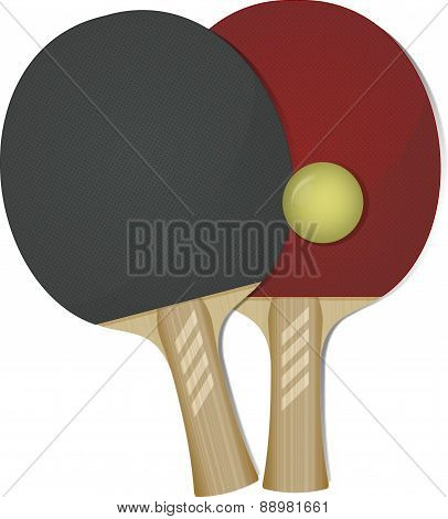 Ping-pong rackets and ball. Vector illustration for your design.