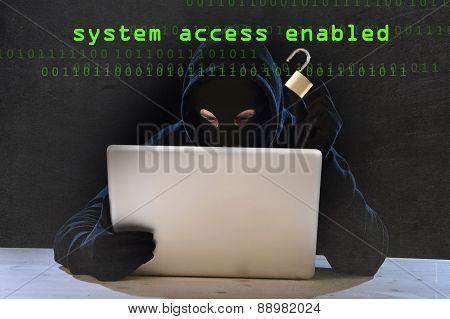 Dangerous Hacker Man With Computer And Lock Hacking System In Cyber Crime Concept
