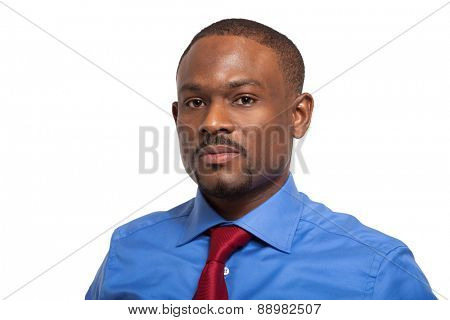 Portrait of an handsome black businessman. Isolated on white