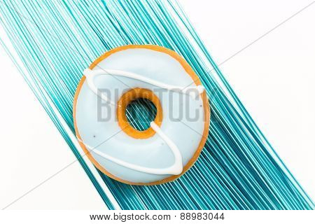 delicious donut in blue