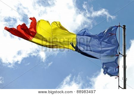 Romanian Flag Ripped Of