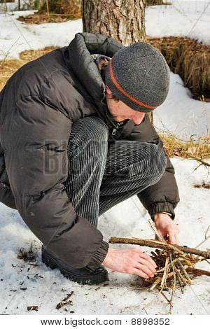 Rest In Winter With Firewood