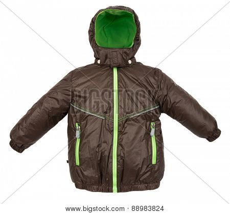 Winter warm jacket isolated on white background
