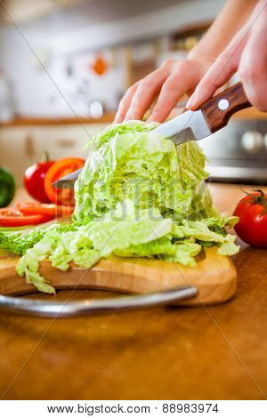 Woman's hands cutting lettuce, behind fresh vegetables.