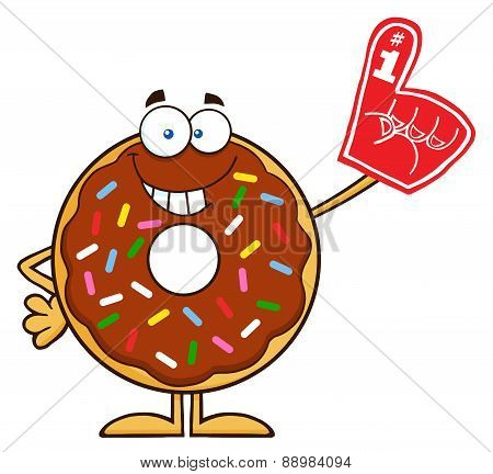Smiling Chocolate Donut Cartoon With Sprinkles Wearing A Foam Finger.