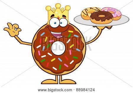 King Chocolate Donut Character Serving Donuts