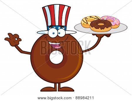 American Chocolate Donut Cartoon Character Serving Donuts