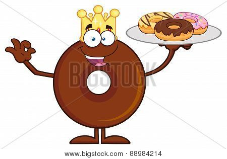 King Chocolate Donut Cartoon Character Serving Donuts