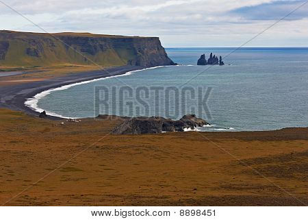 Black Sand At Reynisfjara Beach On The South Coast Of Iceland,
