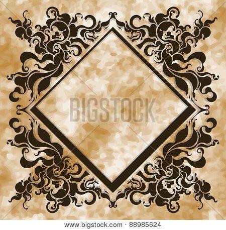 Vintage frame on aged background. Vector illustration for your design.