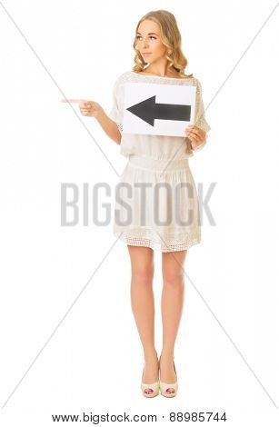 Young girl with left arrow banner isolated