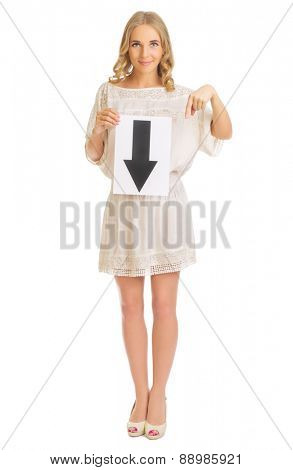 Young girl with down arrow banner isolated