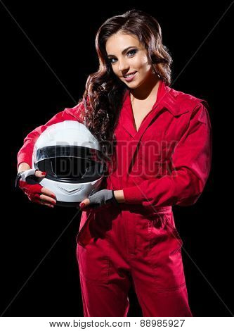 Young girl racer with helmet isolated