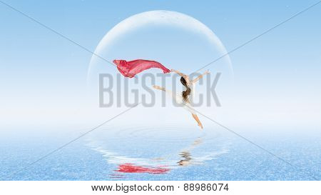 Young girl dancer on water surface