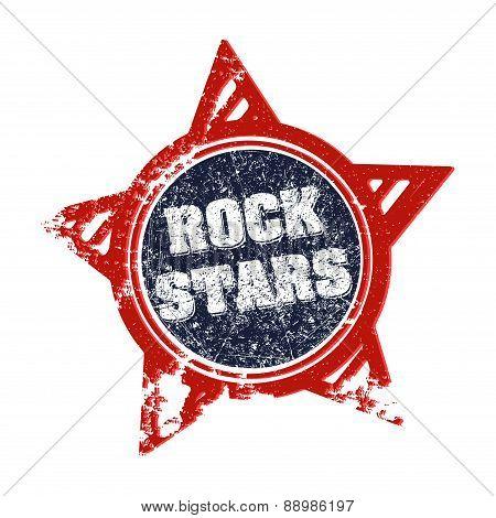 Rock stars - rubber stamp grunge style label. Vector illustration for your design.