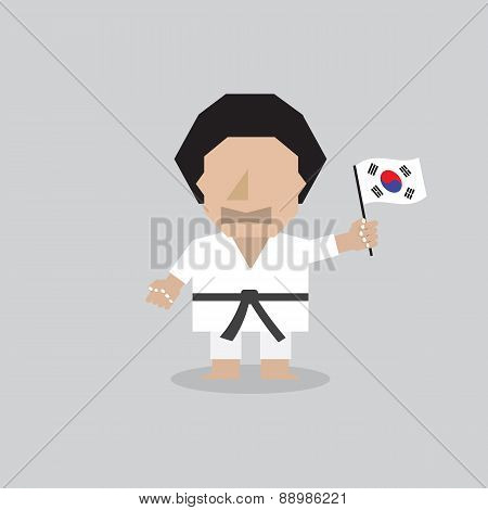 Taekwondo Man With South Korean Flag.