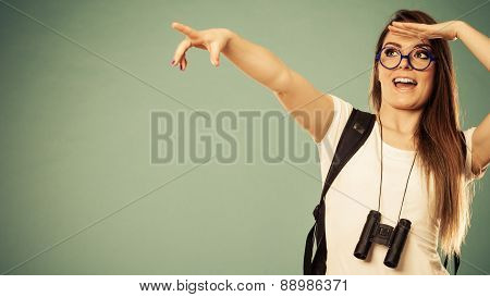 Tourist Woman Pointing Copyspace With Finger
