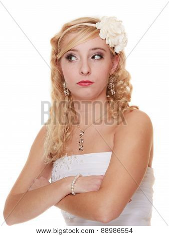 Wedding Day. Pensive Thoughtful Bride Portrait