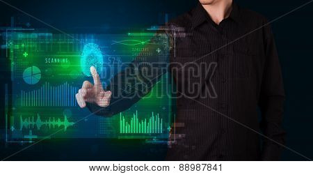Businessman pressing modern technology panel with finger print reader