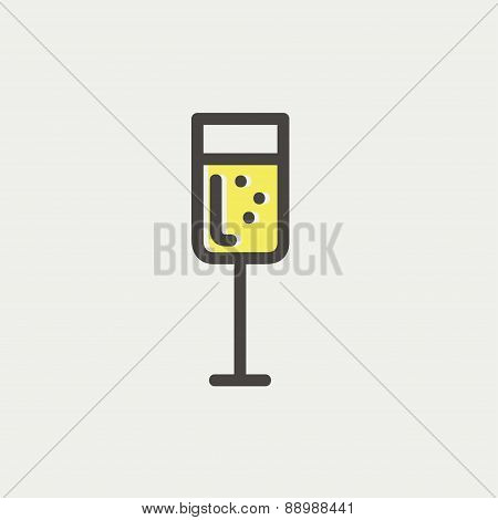 Glass of champagne thin line icon