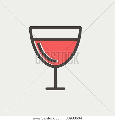 Glass of wine glass thin line icon