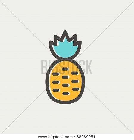 Pineapple thin line icon