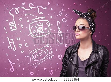 Happy funny woman with shades and hand drawn media icons concept on background