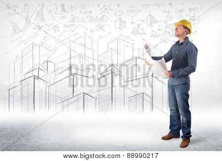 Handsome construction specialist with city drawing in background concept