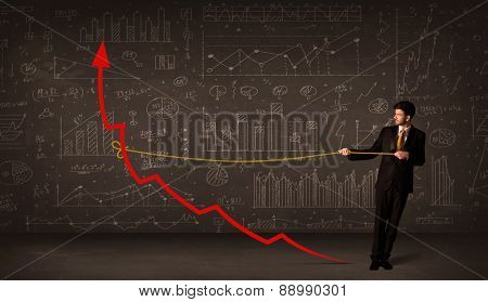 Businessman pulling a red arrow upright with a rope concept on background