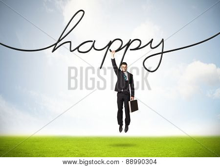 Businessman hanging on a happy rope