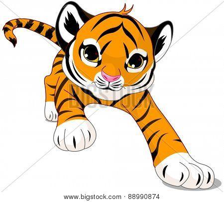 Illustration of running cute baby tiger