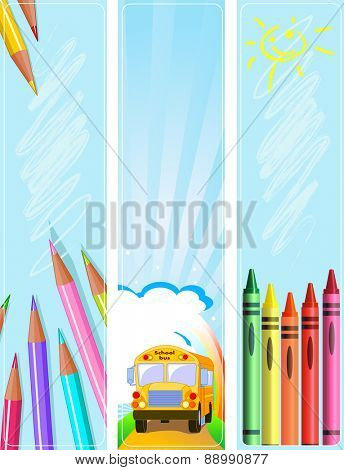 Illustrated set of three various �¢??Back to school�¢?� banners